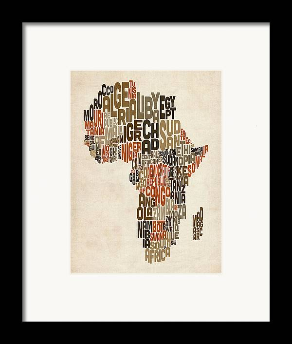 Africa Map Framed Print featuring the digital art Typography Text Map Of Africa by Michael Tompsett
