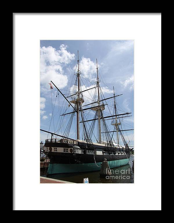 All Sail War Ship Framed Print featuring the photograph U S S Constellation by Christiane Schulze Art And Photography