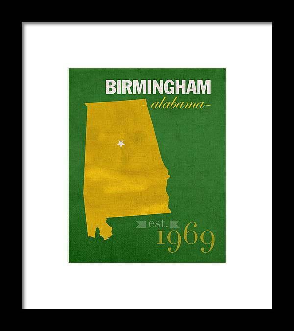 Uab University Of Alabama At Birmingham Blazers College Town State Map  Poster Series No 009 Framed Print