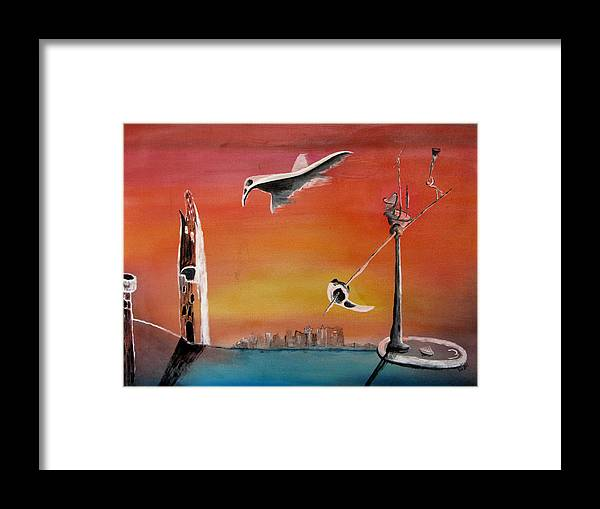 Uglydream Framed Print featuring the painting Uglydream911 by Helmut Rottler