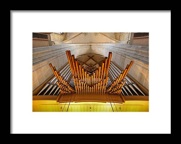 Organ Framed Print featuring the photograph Ulm Pipe Organ by Jenny Setchell