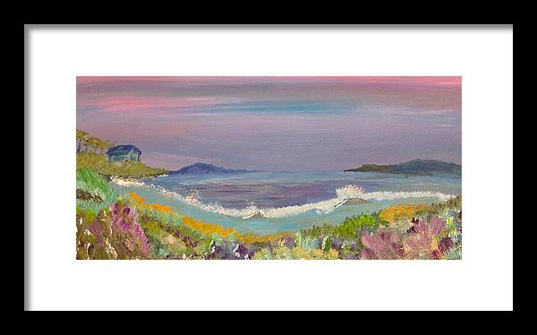Ulua Beach Framed Print featuring the painting Ulua Beach At Sunset by David Sulsh