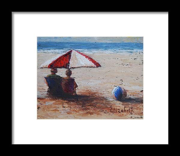 Beach Framed Print featuring the painting Umbrella Beach by Beth Maddox