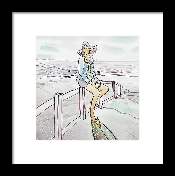Fine Art Framed Print featuring the painting Umbrella Hat by Harry Holiday