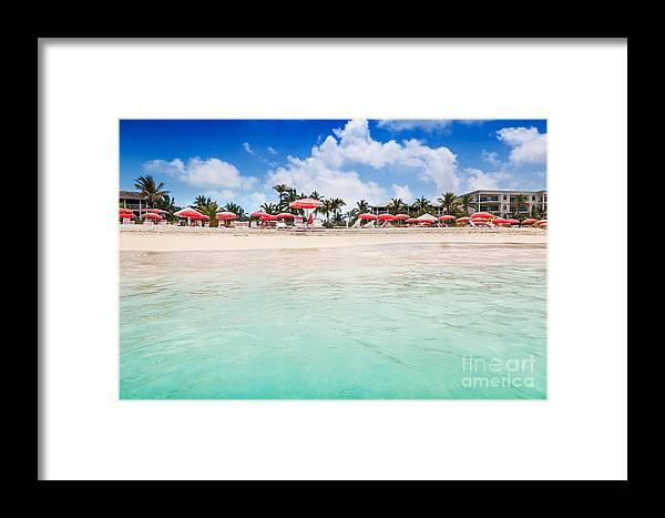 Beach Framed Print featuring the photograph Umbrellas And Chairs On Grace Bay Beach by Jo Ann Snover