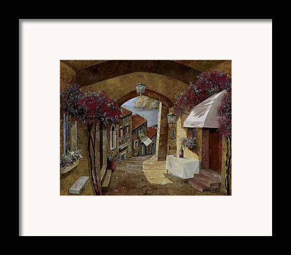 Streetscape Framed Print featuring the painting Un Bicchiere Sotto Il Lampione by Guido Borelli