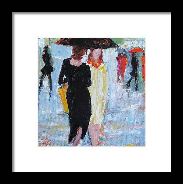 Figurative Framed Print featuring the painting Under One Umbrella by Irit Bourla