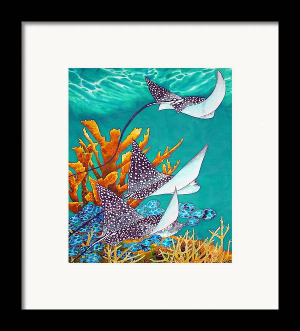 Eagle Ray Framed Print featuring the painting Under The Bahamian Sea by Daniel Jean-Baptiste
