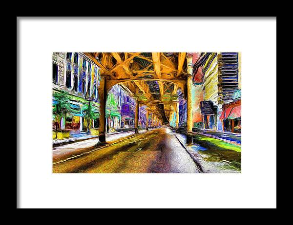 El Framed Print featuring the painting Under The El - 20 by Ely Arsha