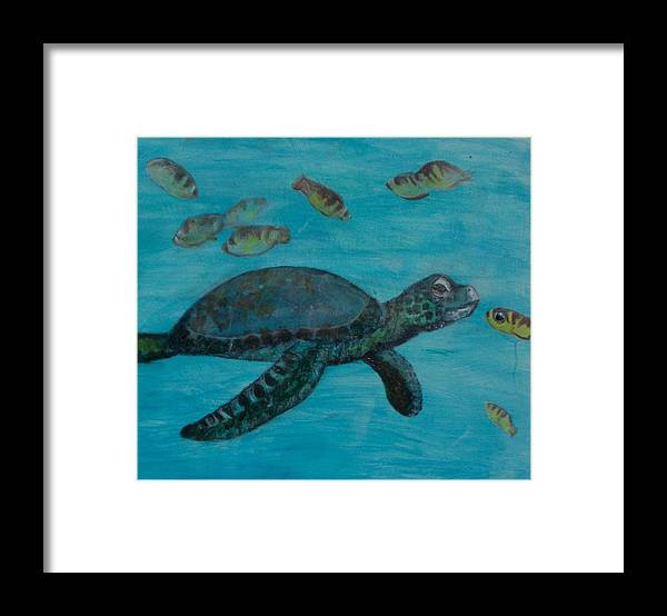 Seascapes Framed Print featuring the painting Under The Sea by Darla Joy Johnson