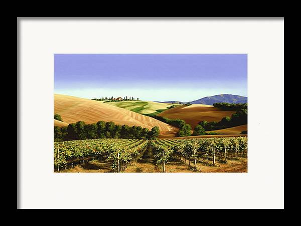 Tuscan Landscape Framed Print featuring the painting Under The Tuscan Sky by Michael Swanson