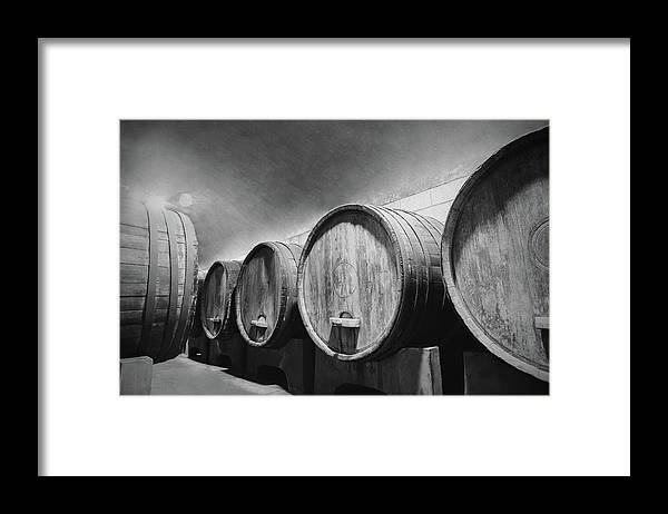 Alcohol Framed Print featuring the photograph Underground Wine Cellar With Wooden by Feellife