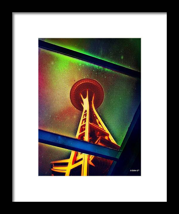 Space-needle Framed Print featuring the photograph Underneath The Space Needle by Eddie G