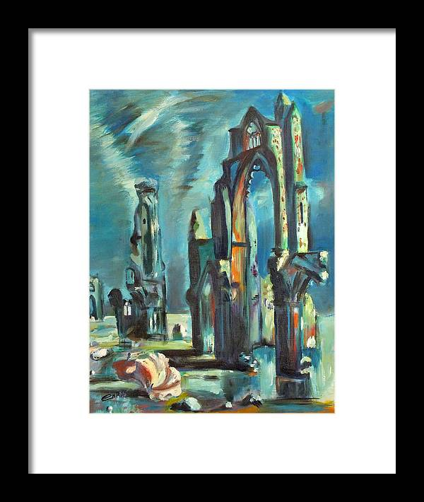 Underwater Framed Print featuring the painting Underwater Cathedral By Chris by Chris McCullough