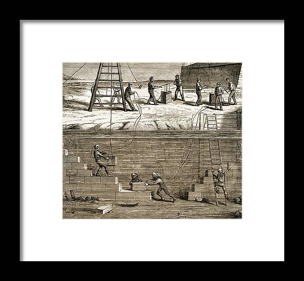 Underwater Construction Framed Print featuring the photograph Underwater Construction C.1850 by Sheila Terry
