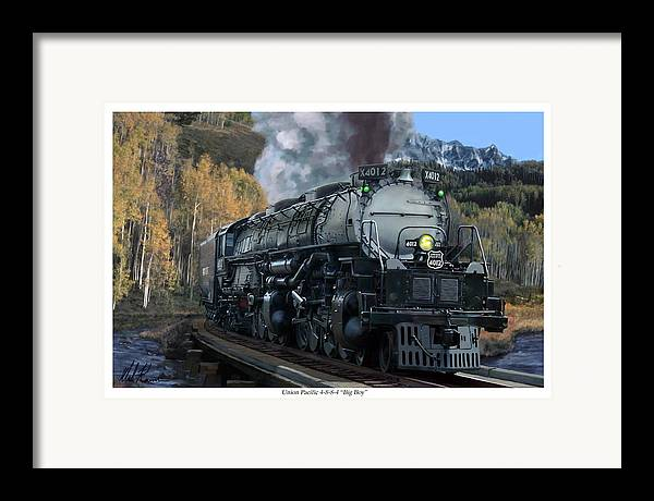 Railroad Framed Print featuring the painting Union Pacific 4-8-8-4 Big Boy by Mark Karvon