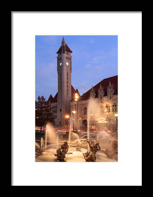 St. Louis Framed Print featuring the photograph Union Station In Twilight by Scott Rackers