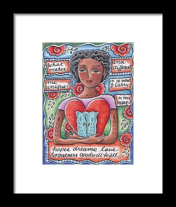 Heart Framed Print featuring the mixed media Unique by Elaine Jackson