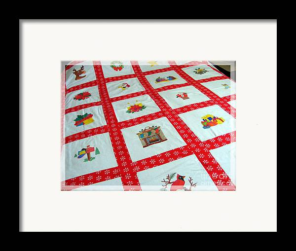 Unique Quilt With Christmas Season Images Framed Print featuring the tapestry - textile Unique Quilt With Christmas Season Images by Barbara Griffin
