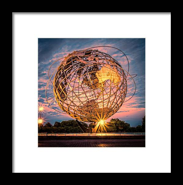 Landscape Framed Print featuring the photograph Unisphere At Sunset by Joseph Pellicone