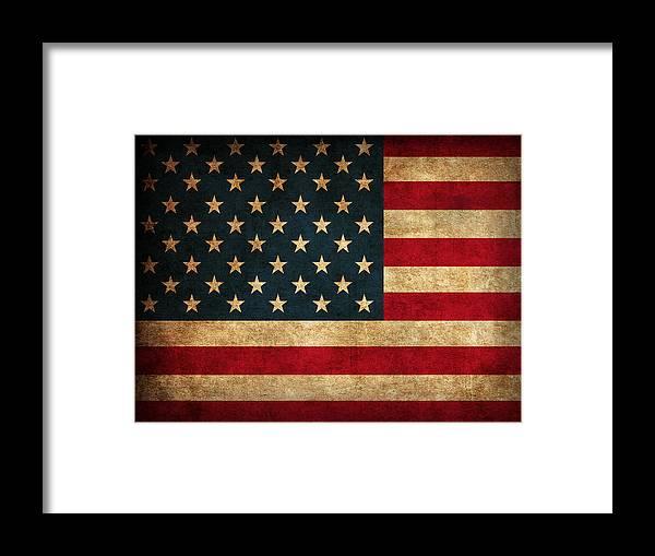 United States American Usa Flag Vintage Distressed Finish On Worn Canvas Framed Print featuring the mixed media United States American USA Flag Vintage Distressed Finish on Worn Canvas by Design Turnpike