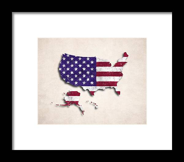 United States Map Art With Flag Design Framed Print By World Art