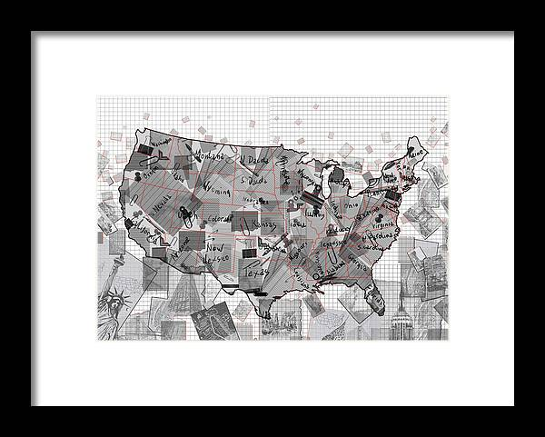 United States Map Collage 3 Framed Print By Bekim Art