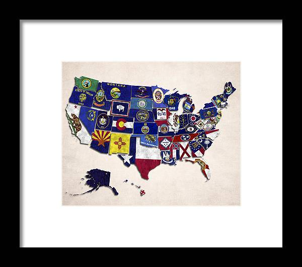 United States Map With Fifty States Framed Print By World Art Prints