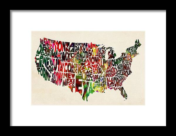 United States Watercolor Map Framed Print By Inspirowl Design