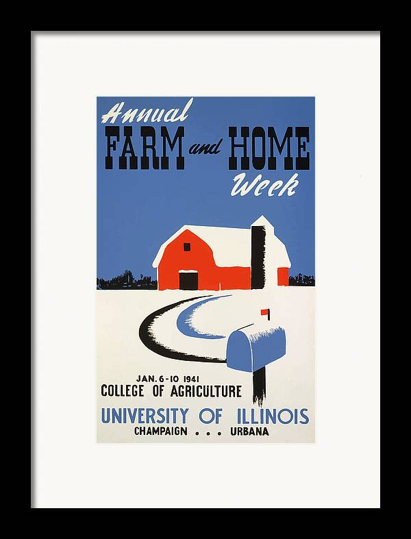 Vintage Framed Print featuring the painting University Of Illnois Farm And Home Week by American Classic Art