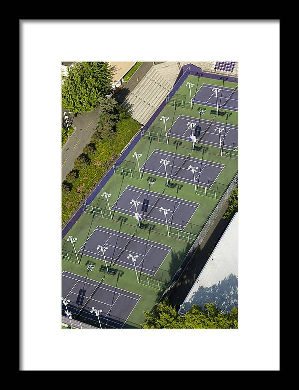 America Framed Print featuring the photograph University Of Washington Tennis Courts by Andrew Buchanan/SLP