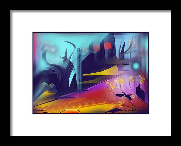 Abstract Framed Print featuring the painting Unknown Places by Saraya Pfeiffer