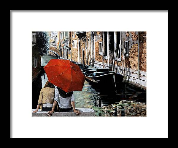 Canal Scene Framed Print featuring the painting Uno Sguardo Al Canale by Guido Borelli