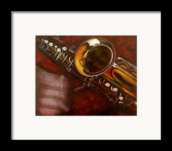 Still Life Framed Print featuring the painting Unprotected Sax by Sean Connolly