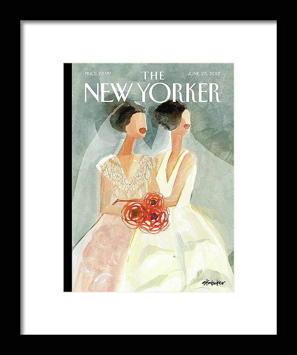 June Brides Framed Print featuring the painting June Brides by Gayle Kabaker