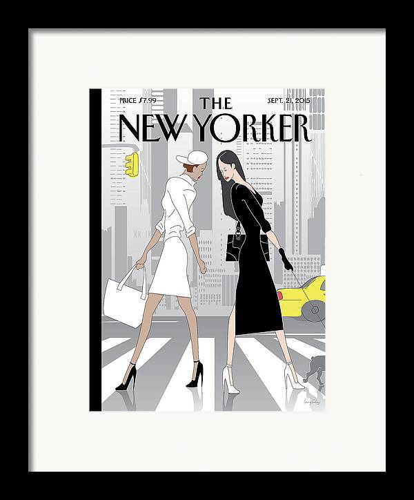 Fashion Framed Print featuring the painting New Yorker September 21st, 2015 by Greg Foley