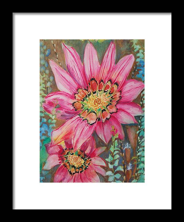 Abstract Floral Framed Print featuring the painting Untitled by Henny Dagenais