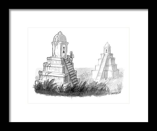 (explorer Discovers Gender Labeled Ancient Pyramid Restrooms.) 122203 Jpt Jason Patterson Framed Print featuring the drawing New Yorker April 24th, 2006 by Jason Patterson