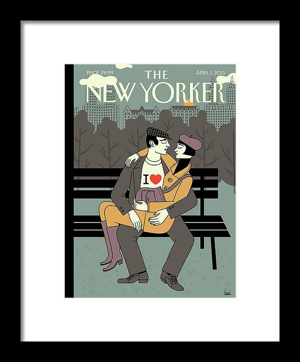 Shirt Framed Print featuring the painting New Yorker April 1st, 2013 by Luci Gutierrez
