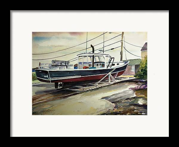 Perkins Cove Framed Print featuring the painting Up For Repairs In Perkins Cove by Scott Nelson