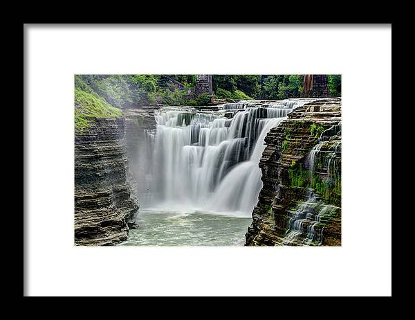 Letchworth State Park Framed Print featuring the photograph Upper Letchworth Falls by Tony Shi Photography