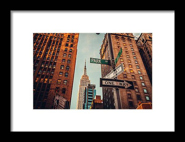 Shadow Framed Print featuring the photograph Urban Skyline In Midtown Manhattan With by Kolderal