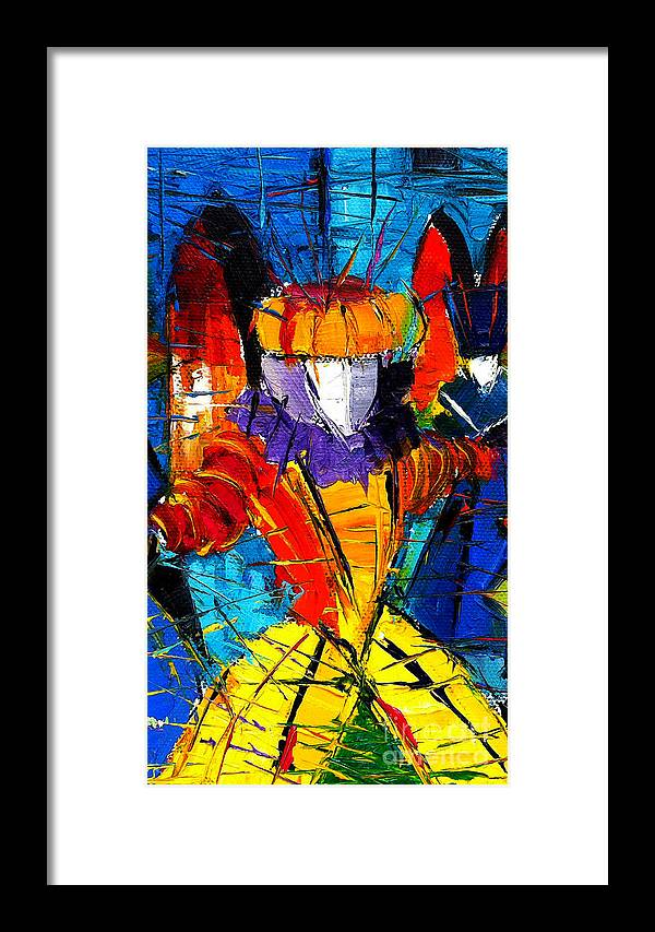 The Carnival Framed Print featuring the painting Urban Story The Venice Carnival 2 Painting Detail by Mona Edulesco
