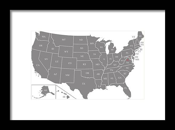Us Map Vector Outline Illustration With Abbreviated States Names And  Capital Location And Name, Washington Dc, In Gray Background Framed Print