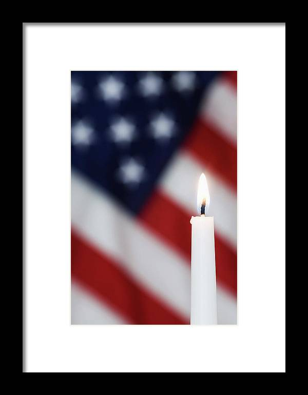 American Framed Print featuring the photograph Usa, California Burning Candle by Jaynes Gallery