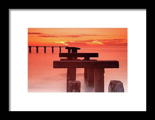 Tranquility Framed Print featuring the photograph Usa, Florida, Boca Grande, Ruined Pier by Henryk Sadura