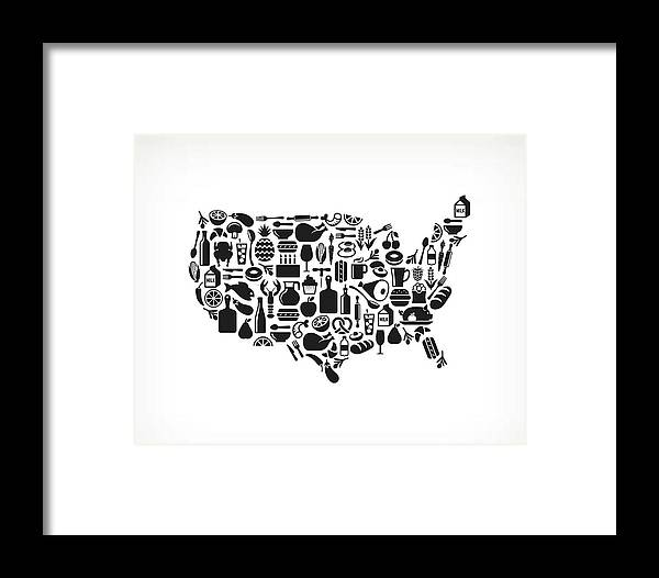 Usa Map Food & Drink Royalty Free Framed Print by Bubaone