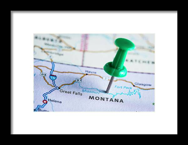 Non-urban Scene Framed Print featuring the photograph Usa States On Map Montana by Ilbusca