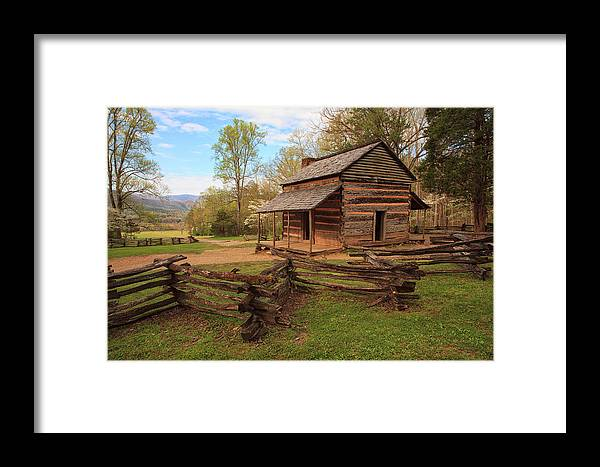 Cabin Framed Print featuring the photograph Usa, Tennessee, Great Smoky Mountain by Joanne Wells