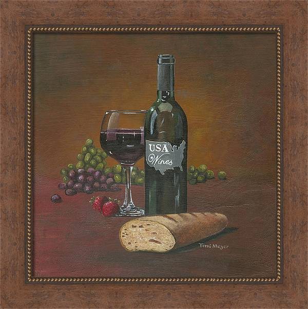 Wine Themed Painting Framed Print featuring the painting Usa Wine by Terri Meyer